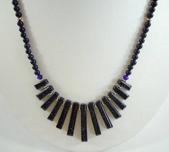 blue goldstone necklace midnight blue bead necklace gemstone