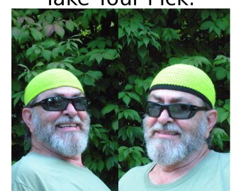 Mens Cotton Skullcap Cooling Cap™ Crocheted in Neon Safety Green + Optional Bands