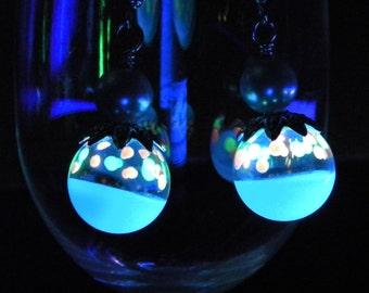 GLASS EARRINGS Fairy Lantern Glow in the Dark Handmade Glass (GLO7) Glow EARRINGS Glow Jewelry