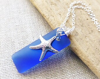Ocean Jewelry, Beach Jewelry, Seaglass Necklace, Cobalt Blue Sea Glass Necklace, Starfish Charm Necklace, Beach Necklace, Rectangle Pendant