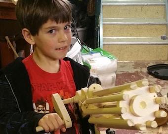 Rubber Band Gatling Gun Handmade Wooden
