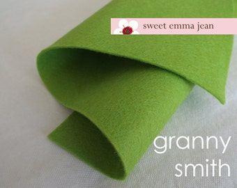 Wool Felt 1 yard cut - Granny Smith - green wool blend felt