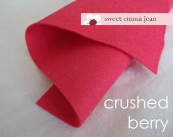 Wool Felt 1 yard cut - Crushed Berry - rich pink wool blend felt