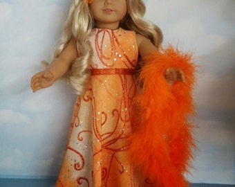 18 inch doll clothes - #200 Orange Glitter Gown and Boa -  FREE SHIPPING