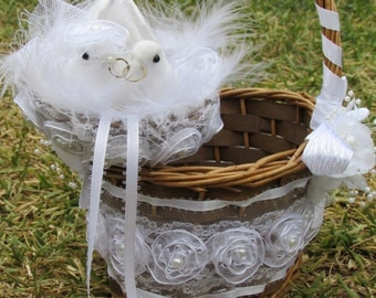 Free Shipping Wedding Country Rustic Nest Ring Pillow Love Dove Birds Rustic Flower Girl Basket Wedding Cake Server And Knive Set