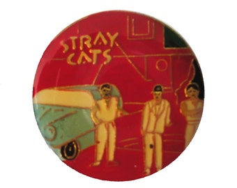 STRAY CATS vintage enamel pin button Brian Setzer strut rockabilly