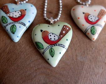Heart Pendant-Hand Painted English Robin-Ceramic Pendant