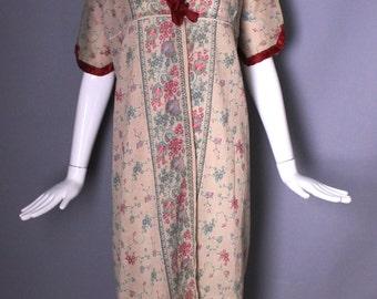 1900s EDWARDIAN regency print floral cotton gauze silk trim victorian kimono DUSTER robe jacket calico romantic
