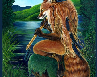 Red Fox playing a flute Print