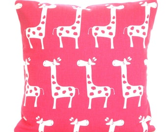 Pink Giraffe Pillow Cover, Decorative Throw Pillow, Cushion, Candy Pink White, Baby Nursery Pillow Decorative Pillow,Throw Pillow, ALL SIZES