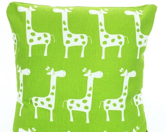 Green White Giraffe Pillow Cover, Decorative Throw Pillows, Cushions, Lime Green White Giraffe Baby Nursery Pillows Bed Pillows ALL SIZES