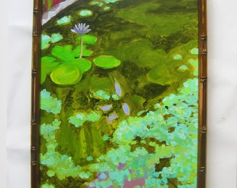 Impressionist painting Lily Pond garden pond 12x16 oil painting mint green lavender dark green water