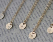 Tiny Hammered Gold Disc Initial Necklace - gold filled charm small circle personalized hand stamped pendant gift - simple everyday jewelry