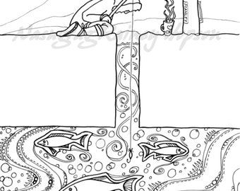 Ice Fishing - hand drawn Alaska Native coloring page - download and print your own at home