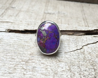 Natural Oval Copper Purple Green Turquoise Boho Chic Ring in Sterling Silver