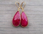 Genuine Ruby Earrings, 24K Gold Vermeil Bezel Set Stones, July Birthstone Jewelry,  Large Ruby Earring