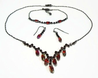 Red AB Crystal Necklace, Earrings & Bracelet Full Suite with Prong Set Marquise in Ruthenium Plated Metal - Vintage 70s Costume Jewelry Sets