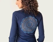 Dark Blue long roll-up sleeve t-shirt with upcycled vintage crochet doily back Size S