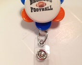 Retractable Badge ID Holder Handmade NFL Broncos Pin Football