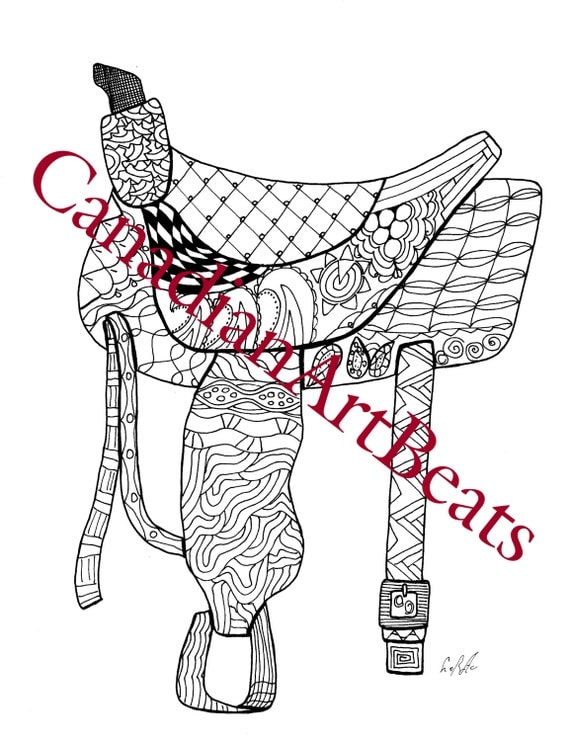 Saddle Western Horse Adult Coloring