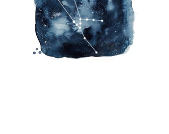 Taurus Zodiac Constellation Watercolour Illustration (Star Sign)