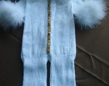 Onesie Christmas Stocking - Gingerbread man with ostrich feathers -- FREE SHIPPING