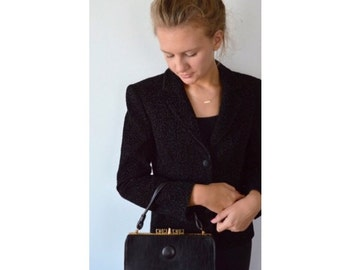 Vintage Black Handbag, 1960s Black Handbag, Leather Handbag, Vintage Purse, Handbaqs