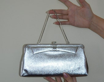 Vintage Silver Clutch, 1960s Clutch, Silver Lame Clutch, Wedding, Evening, Vintage Handbags, Vintage Purses, Silver Lame, 1960s Handbags