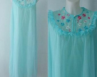Vintage Nightgown, Vintage Chiffon Nightgown, Aqua Blue Nightgown, Romantic, Queentex, Aqua Chiffon Nightgown, Long Nightgown