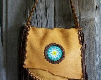 Leather shoulder bag , Beaded Flower Mandala , Leather handbag , Boho tribal handbag , Gypsy style bags