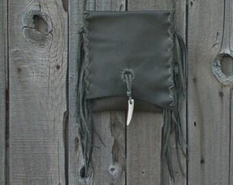 Dark gray leather purse , Dark gray fringed handbag , Crossbody handbag