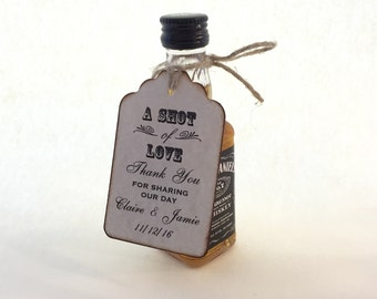 100 Wedding Favor Tags, Shot Of Love Thank You Tags For Shot Glass Favors And Mini Liquor Bottle Favors