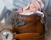 Baby girl hat  aviator goggles coming home outfit newborn girl  pilot hat photo prop hat pink taupe cream tweed wool  crochet