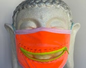 Neon Monster zipper dust mask for Burning Man, EDC, raves, and other blacklight fun