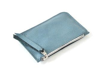Metallic Blue Leather Zip Pouch Purse Wallet Handmade