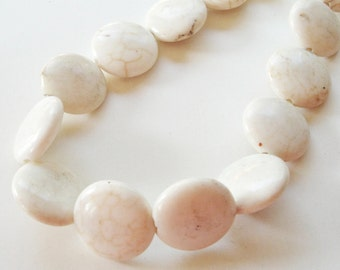 "Ivory White Coin Beads - Round Coin Magnesite Beads - Smooth Drilled Gemstone - 16 mm - 16"" Strand - DIY Jewelry Making"