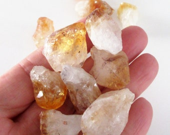 Citrine Beads - Crystal Nugget Beads -  Yellow Rough Point Briolette - Freeform Graduated Nugget Gemstone - 6 Pcs - Diy Jewelry
