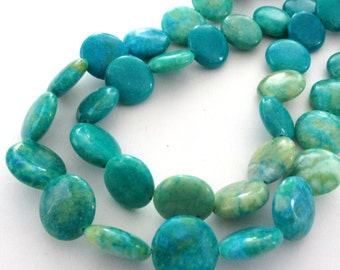 """Mix Teal Turquoise Coin Beads - Blue Coin Magnesite Round Beads - Smooth Drilled Turquoise Gemstone - 15mm - 16"""" Strand - DIY Jewelry"""
