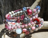 Rosey      Antique French Art Glass Rosary Beaded Cuff Wrap Bracelet