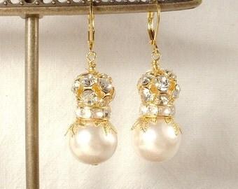 Vintage Pearl & Rhinestone Ball Gold Leaves Bridal Dangle Earrings, Bridesmaids Ivory Pearl Drop Jewelry Vintage Modern Wedding Gifts Rustic