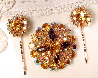 STUNNING Autumn Wedding Bridal Hair Comb, Vintage Topaz & Brown Rhinestone Gold Sash Brooch OR OOAK Head Piece Rustic Chic Country Hairpiece