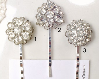 1 Antique Art Deco Rhinestone Bridal Hair Pin, Something Old 1920 Vintage Wedding Paste Bobby Pin, Silver Gatsby Hair Jewelry Downton CHOICE