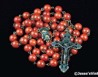 Catholic Rosary Beads Red Jasper Copper Natural Stone Tradtional