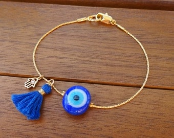 Gold Blue Evil Eye Beaded Bracelet with Tassel  - Minimalist Evil Eye Bead Bracelet -  Blue Tassel Bracelet