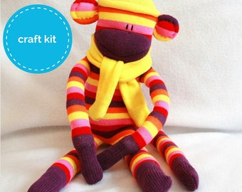 Sock Monkey Craft Kit - Purple, Pink and Yellow strips with Yellow Hat DIY Kits