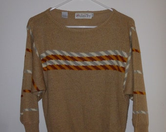 Vintage 1980s Tan Sweater With Brown, Mustard Yellow, Grey And White Stripes By Outlander