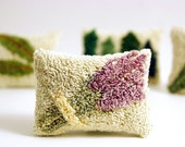 Lavender Sachet. Punch Needle Embroidery Miniature Sachet. Purple, Green, Cream. Home Decor, Great Bridesmaid Gift.