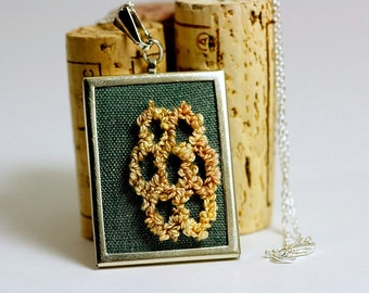 Ready to Ship! Honeycomb Hexagon Embroidered Necklace. Valentine for Her. Silver Necklace. Punchneedle Embroidery. Green and Yellow.
