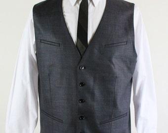 SALE - Dark Gray Sharkskin Suit Vest - Mens Size Medium