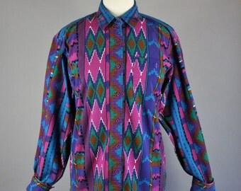 Vintage 90s Women's Wrangler Tribal Navajo Design Long Sleeve Button Down Cotton Shirt